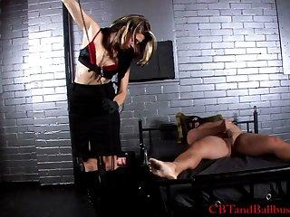 Busniess women in ball busting fetish femdom a masked sponger in cellar