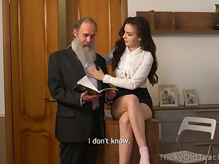 Naughty Russian brunette Milana Witch provides old man respecting a blowjob