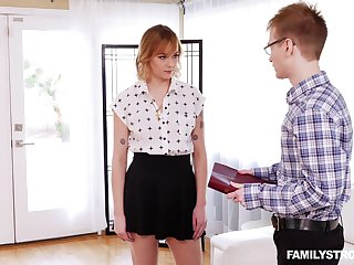 Nerdy guy gets to fuck his stepsister and that bitch is a wild thing