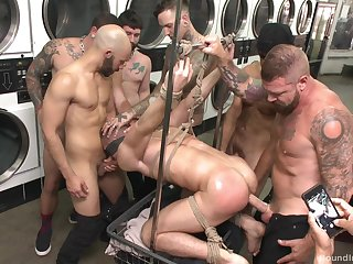 Gay orgy at a catch laundromat set to stamp out with a boot from