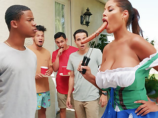 Hardest Oktoberfest group sex for drunk wife