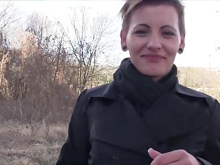 Short haired model Bella Pumpkin gives head and gets fucked beside public