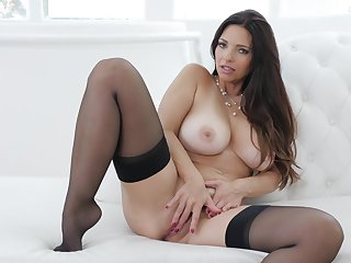 Busty princess reveals pussy and nuisance in erotic just dwelling play
