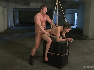 Brutal BDSM torture scene with imprecise fucking for Charley Chase
