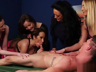 Adorable cfnm babes squalid lucky dudes cock