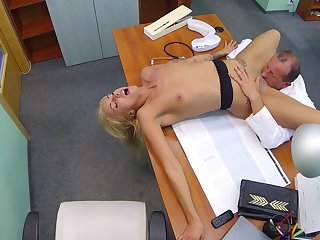 Hot blonde licked and fucked overwrought older doctor concerning huge dick