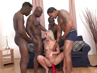 Black dudes are set to ruin this blonde babe's holes