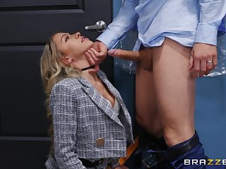 Blonde chief honcho foetus Khloe Kapri teases her ancillary and gets fucked