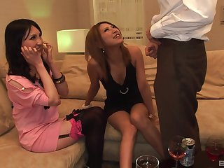POV video of a lucky alms-man getting a double blowjob by Japanese babes