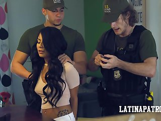 Illegal Latin babe Monica Asis is arrested and fucked by sex-mad cop