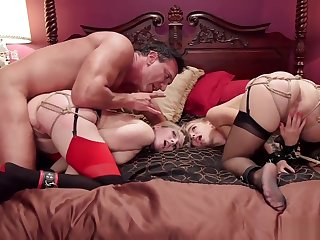 Covetous tied butts blondes are anal fucked