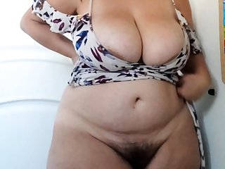 Natural together with hairy honey masturbate