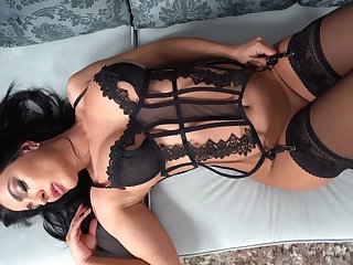 Brunette in disastrous lingerie, creature oral gagging and facial