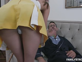 Stepdaughter helps her stepdad get better and her pussy has magical powers
