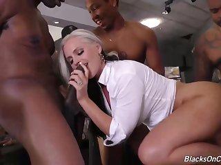 Alena Croft is a smoking hot blonde milf with big tits, who likes ebon guys