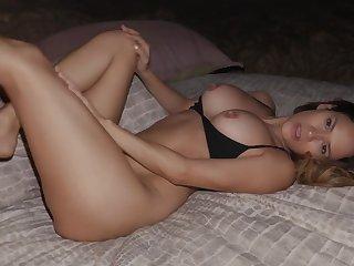 Nice lovemaking on the bed between Jenny Blighe and a crestfallen stranger