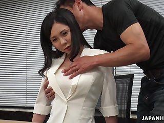 Modest Asian latitudinarian Miyuki Ojima is fucked and creampied by horny co-worker