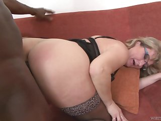 Mature PAWG Aja C takes cumshots on glasses after hardcore sex with young black man