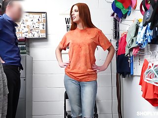 Hot like fire ginger babe Scarlett Mae gets punished for shoplifting